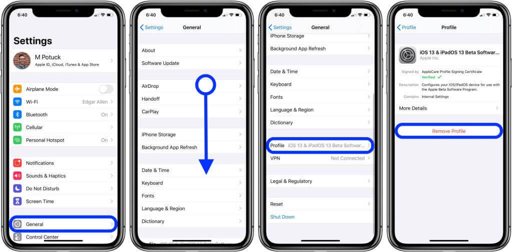 comment supprimer le profil de configuration ios d'iphone ou d'ipad