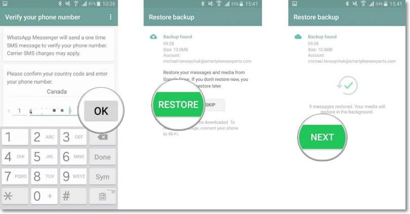 restaurer la sauvegarde WhatsApp de Google Drive sur Android