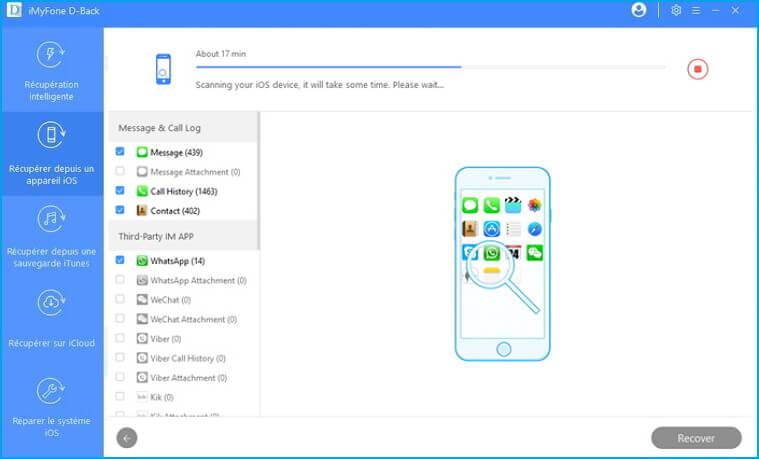Scan de l'appareil iOS