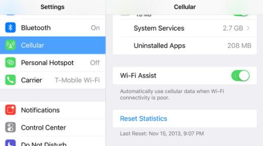 désactiver l'assistance Wi-Fi