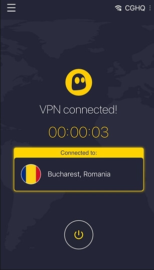choisissez un emplacement et connectez le vpn