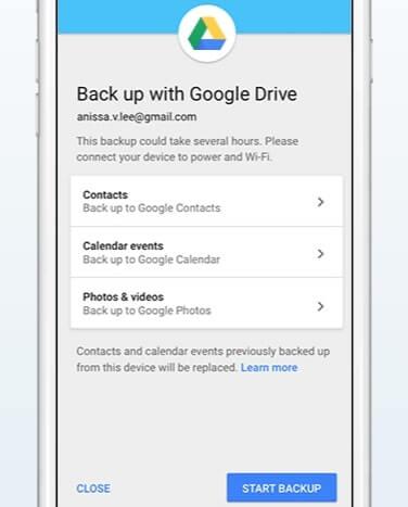 sauvegarder l'iphone pour google drive