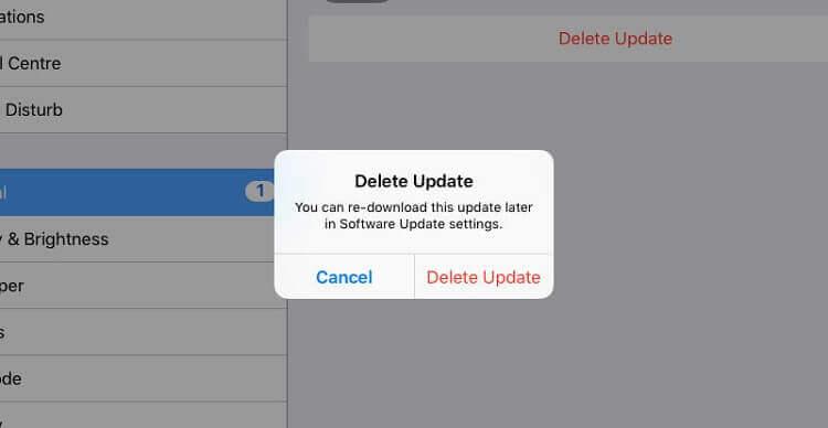 supprimer la mise à jour iOS