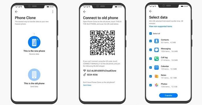 transférer des messages via huawei phone clone