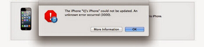 erreurs de la mise à jour ios via iTunes