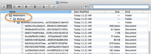 localiser le fichier de sauvegarde de l'iphone