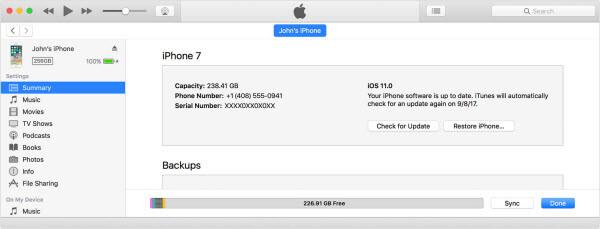 mise à jour de l'iPhone via iTunes