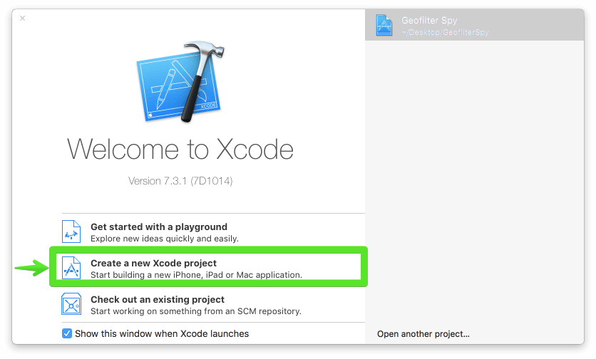 créer un nouveau projet Xcode