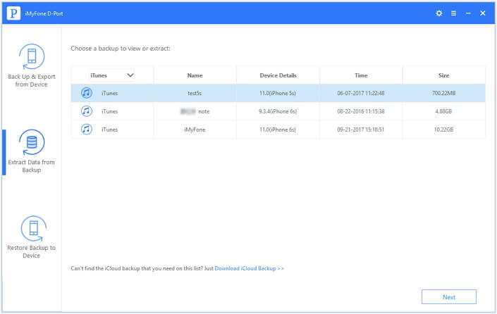 Choose extract from iTunes Backup