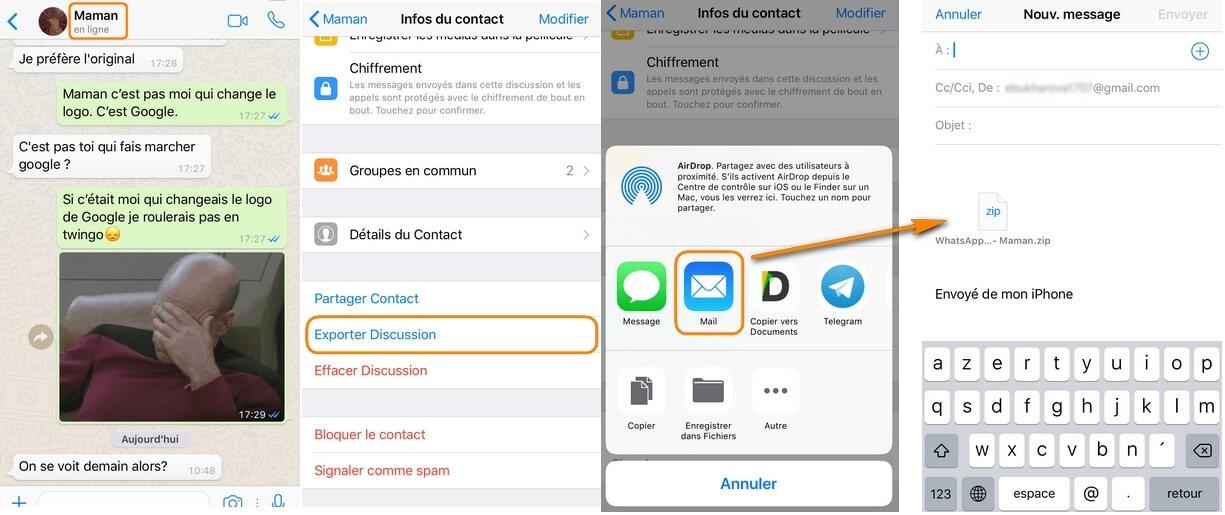 envoyer des conversations WhatsApp par e-mail