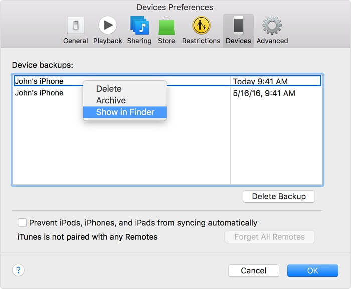locate itunes backups on your Mac
