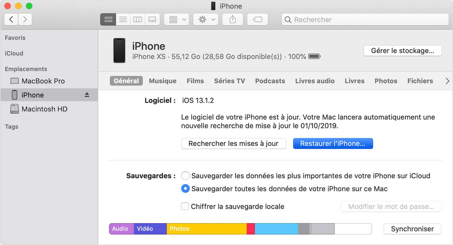 restaurer votre iPhone en un clic