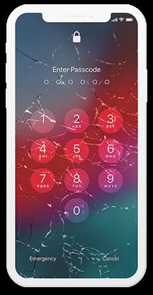 Verrouillage de l'iPhone avec écran cassé