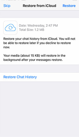 restore whatsapp from icloud to iphone