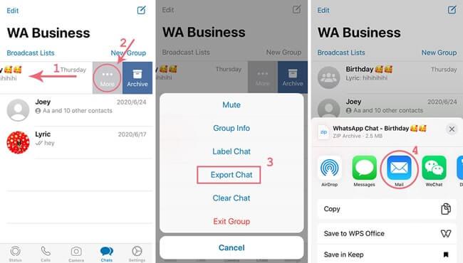 étapes pour exporter messages de whatsapp business par email