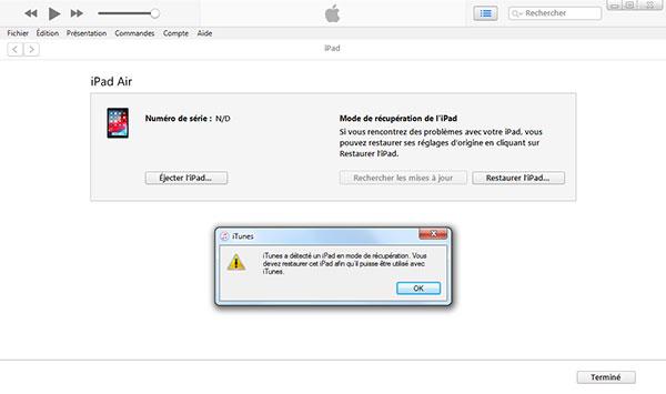 réinitialiser ipad sans identifiant apple via DFU