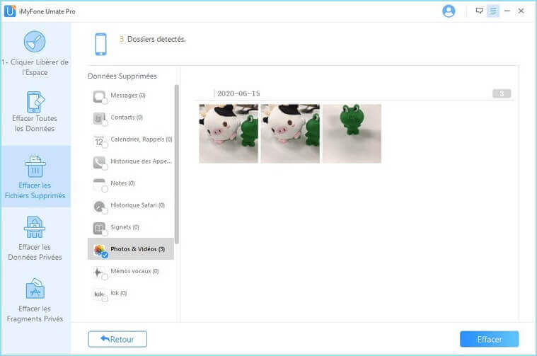 cliquer sur Nettoyage après le scan des fichiers supprimés