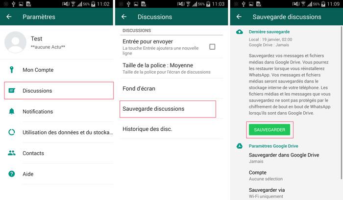 étapes pour sauvegarder discussions WhatsApp
