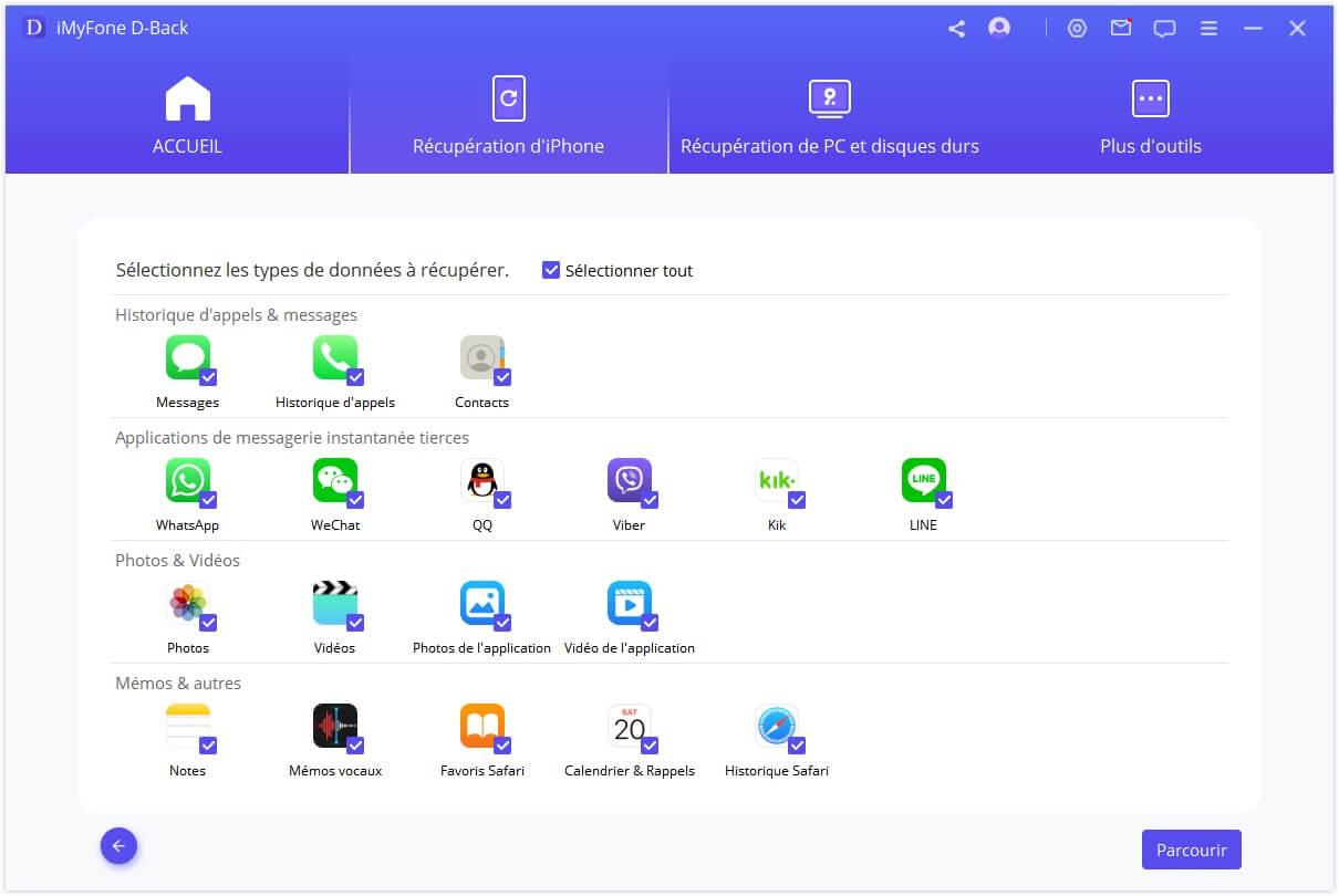 sélectionner les types de fichiers