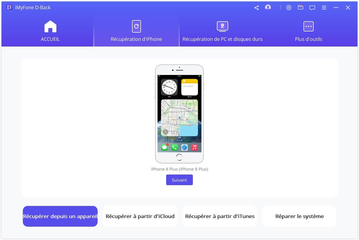 Sélectionnez le type de fichier dans l'onglet iOS