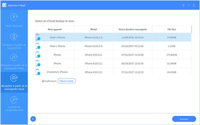 select the iCloud backup file