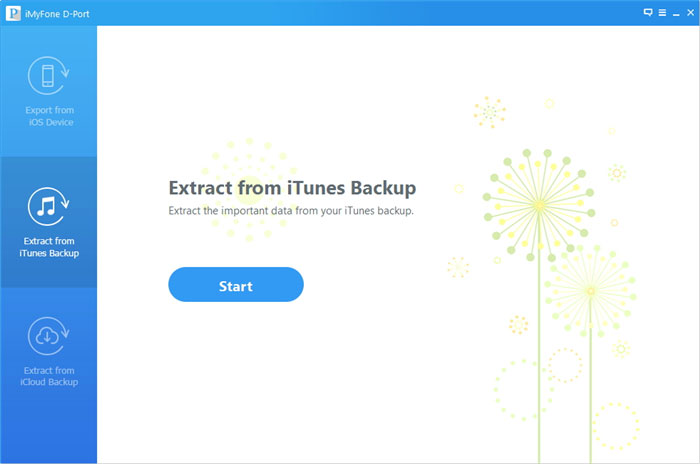 "Choose ""Extract from iTunes Backup"""