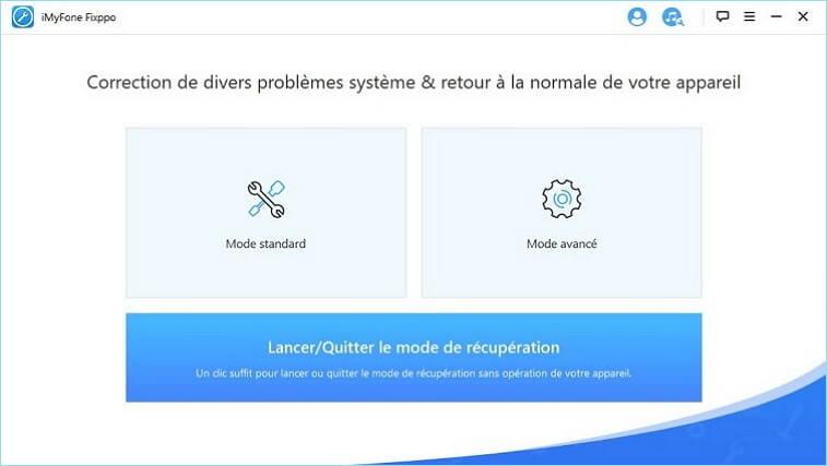 choisir Lancer/Quitter le Mode de Récupération sur la page d'accueil