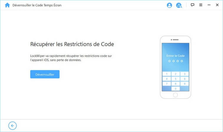 Commencer à déverrouiller le code de restriction