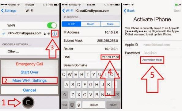Configuración de Wi-Fi para ingresar al servidor DNS y Volver para activar iPhone