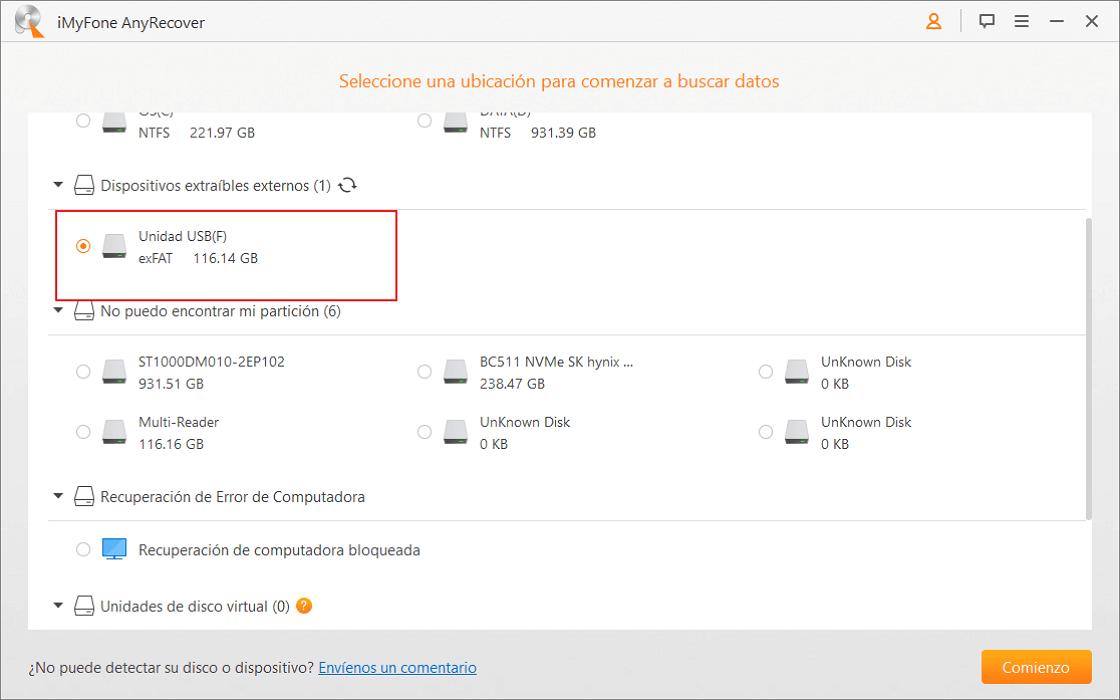 seleccionar el disco duro externo en formato RAW para recuperar