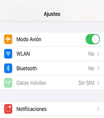 habilitar el modo avión en iPhone