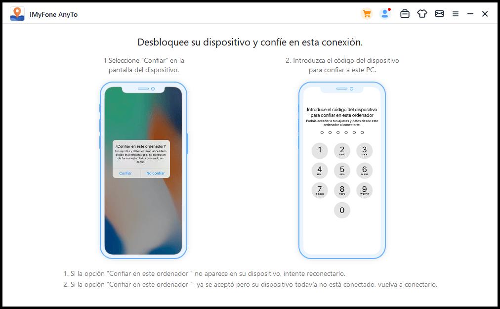desbloquee el iPhone para autorizar la conexión