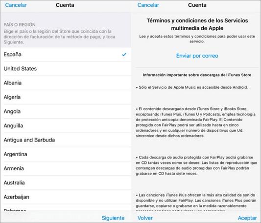 aceptar los terminos y condiciones de Apple
