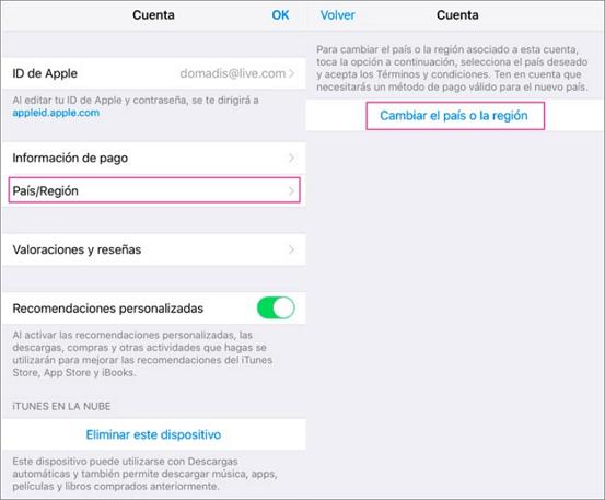 cambiar region en app store