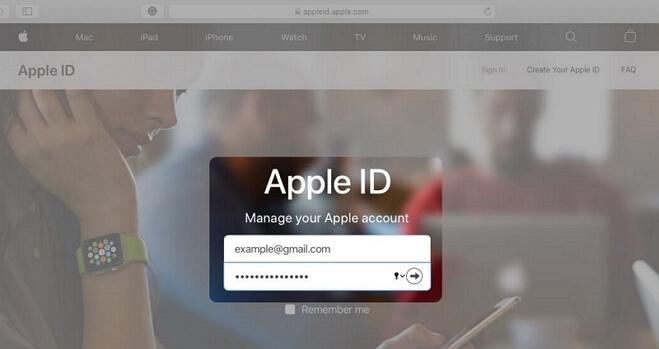 Ingresa el ID de Apple en el sitio web