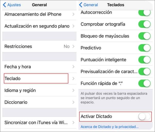 Habilitar o deshabilitar el dictado en el iPhone