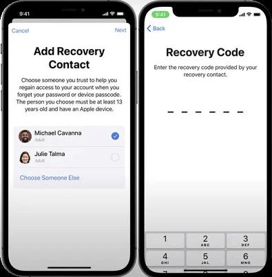 Contactos de recuperación de la cuenta Apple