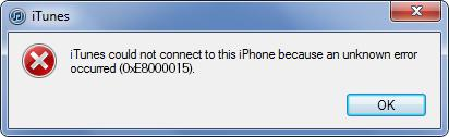 error 0xe8000015 itunes iphone