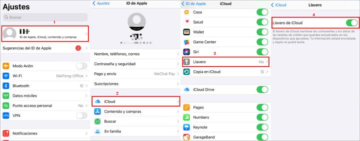 Activar Llavero de iCloud