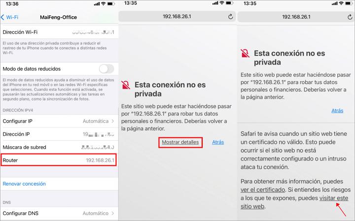 copiar la direccion del Router en iPhone