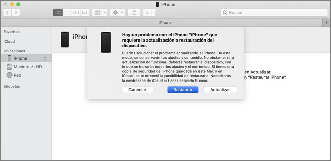 restaurar iphone via iTunes