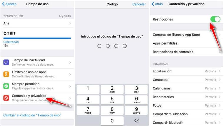 Desactivar las restricciones en iOS 10