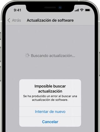 imposible buscar actualizacion iOS 15 iPhone