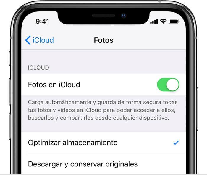 activa fotos en icloud
