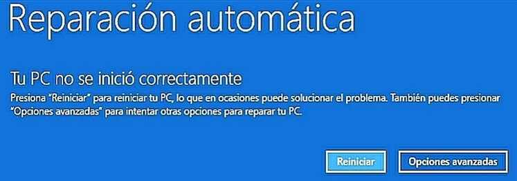 Se queda preparando reparación automática Windows 10 pantalla azul