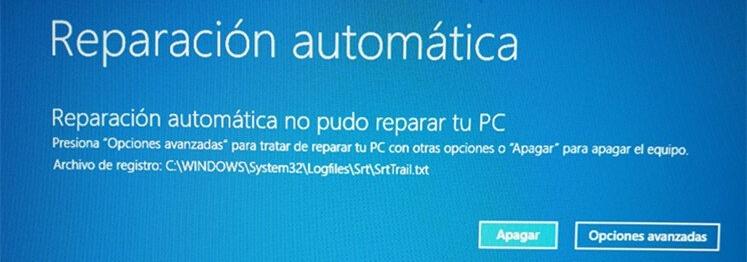 reparacion automatica no pudo reparar tu pc