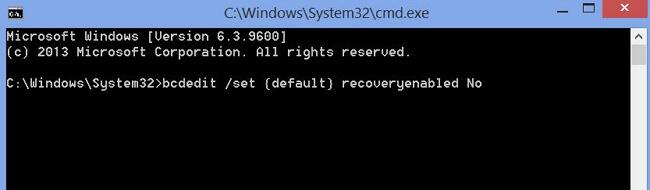 introducir bcdedit /set {default} recoveryenabled