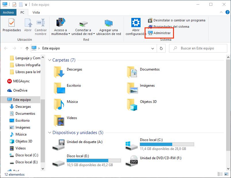 abrir administrar en mi PC