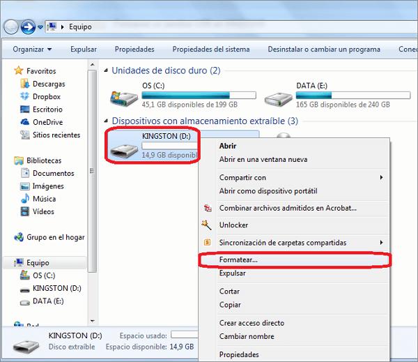 formatear el usb por explorador de archivos