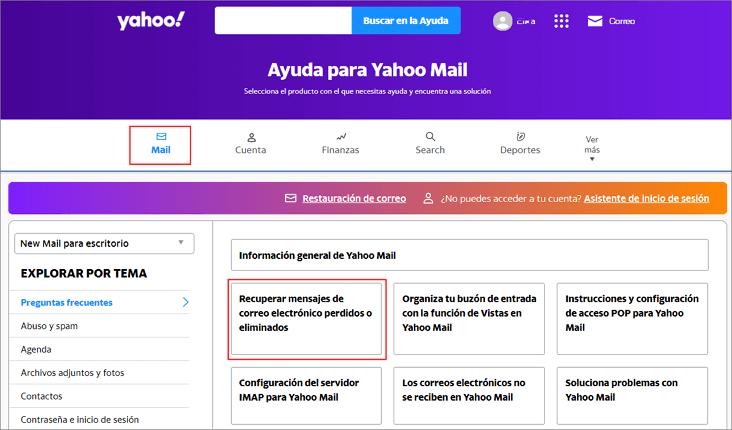 selecciona Recuperar correos eliminados Yahoo